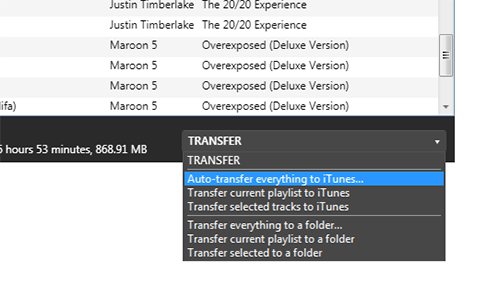 Music auto transfer, playlist transfer, and transfer to folder.