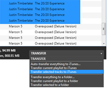 Transfer selected songs to iTunes or to a folder.