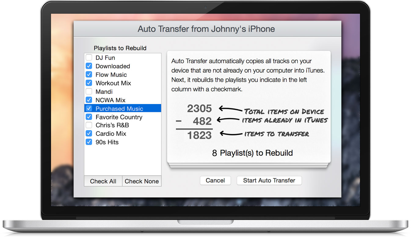 iExplorer Auto Transfer Dialog
